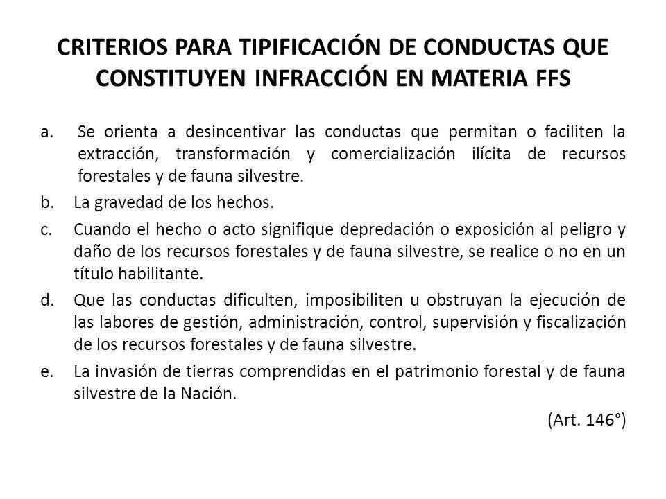 CRITERIOS PARA TIPIFICACIÓN DE CONDUCTAS QUE CONSTITUYEN INFRACCIÓN EN MATERIA FFS