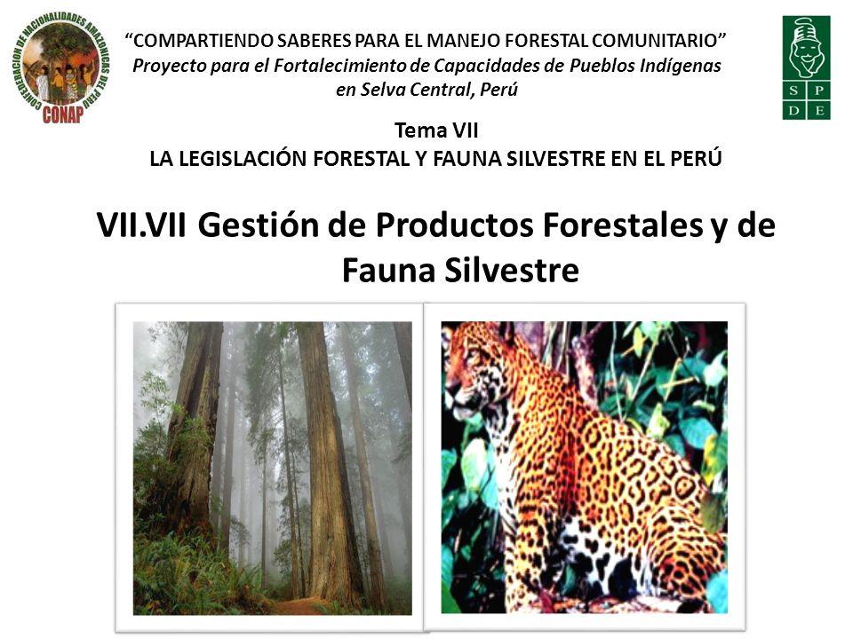 VII.VII Gestión de Productos Forestales y de Fauna Silvestre