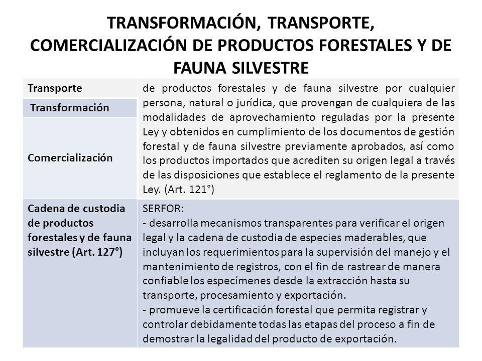 TRANSFORMACIÓN, TRANSPORTE, COMERCIALIZACIÓN DE PRODUCTOS FORESTALES Y DE FAUNA SILVESTRE