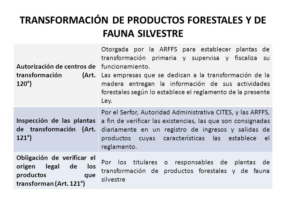 TRANSFORMACIÓN DE PRODUCTOS FORESTALES Y DE FAUNA SILVESTRE