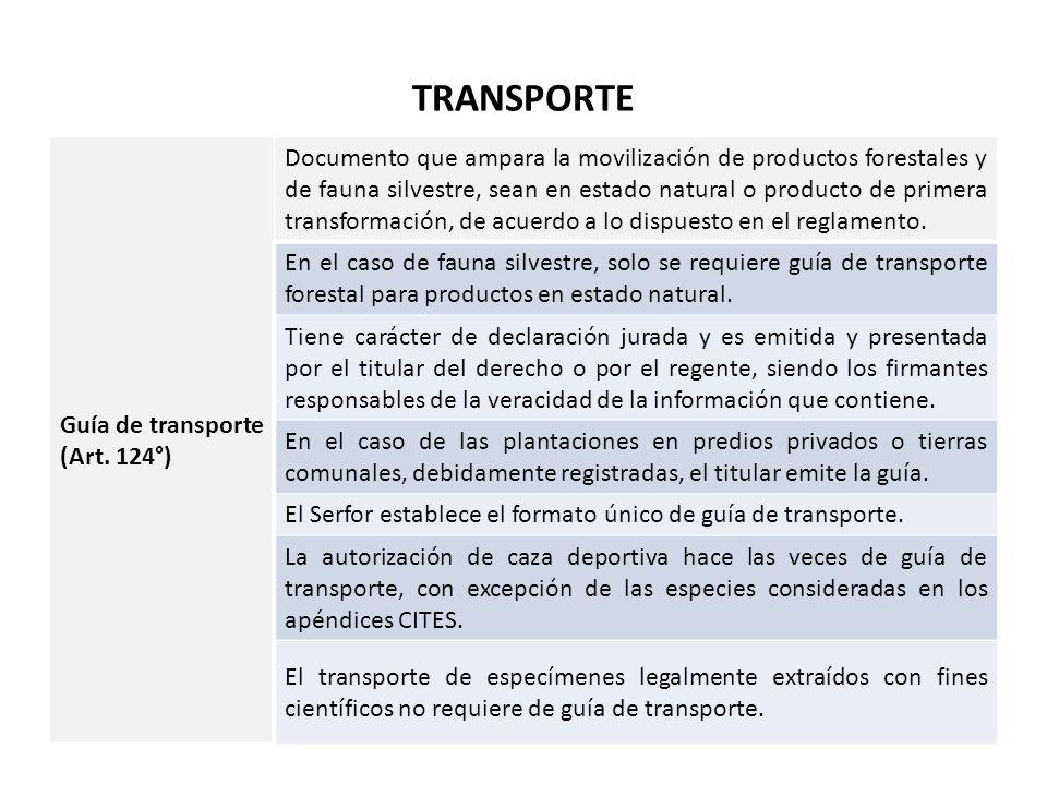 TRANSPORTE Guía de transporte (Art. 124°)