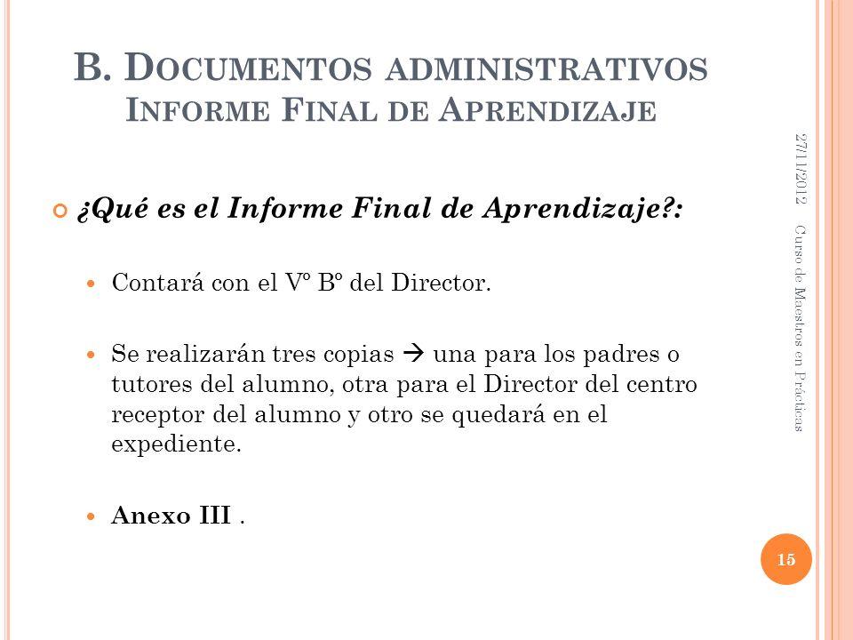 B. Documentos administrativos Informe Final de Aprendizaje