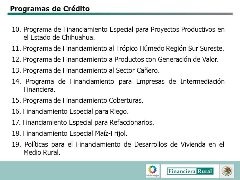 Programas de Crédito 10. Programa de Financiamiento Especial para Proyectos Productivos en el Estado de Chihuahua.