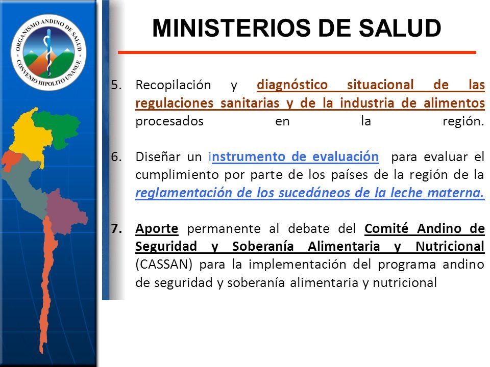 MINISTERIOS DE SALUD Recopilación y diagnóstico situacional de las regulaciones sanitarias y de la industria de alimentos procesados en la región.