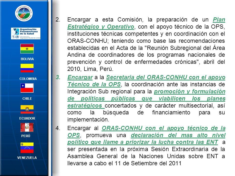 Encargar a esta Comisión, la preparación de un Plan Estratégico y Operativo, con el apoyo técnico de la OPS, instituciones técnicas competentes y en coordinación con el ORAS-CONHU; teniendo como base las recomendaciones establecidas en el Acta de la Reunión Subregional del Área Andina de coordinadores de los programas nacionales de prevención y control de enfermedades crónicas , abril del 2010, Lima, Perú.