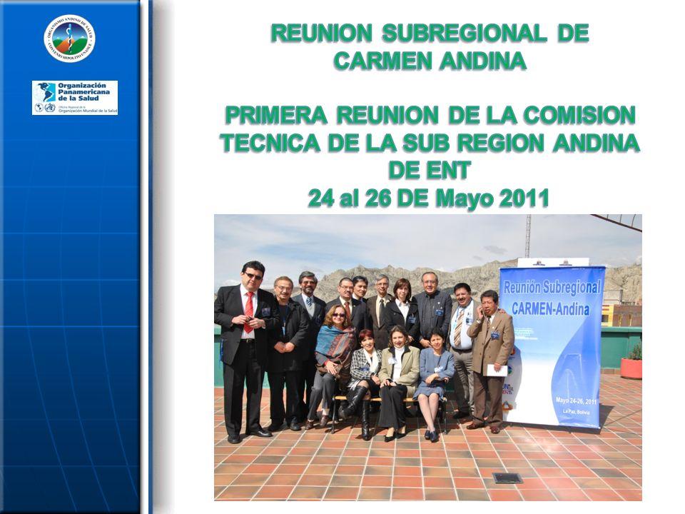 REUNION SUBREGIONAL DE CARMEN ANDINA PRIMERA REUNION DE LA COMISION TECNICA DE LA SUB REGION ANDINA DE ENT 24 al 26 DE Mayo 2011 LA PAZ, BOLIVIA