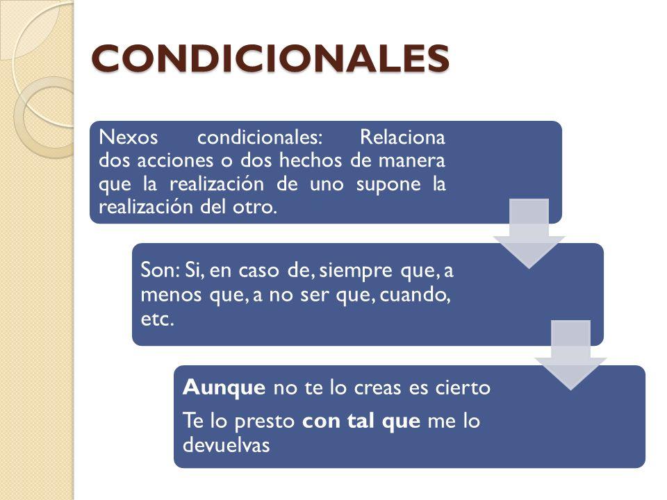 CONDICIONALES Nexos condicionales: Relaciona dos acciones o dos hechos de manera que la realización de uno supone la realización del otro.