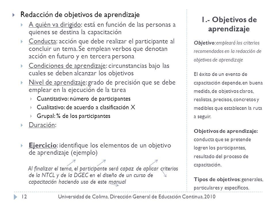 1.- Objetivos de aprendizaje