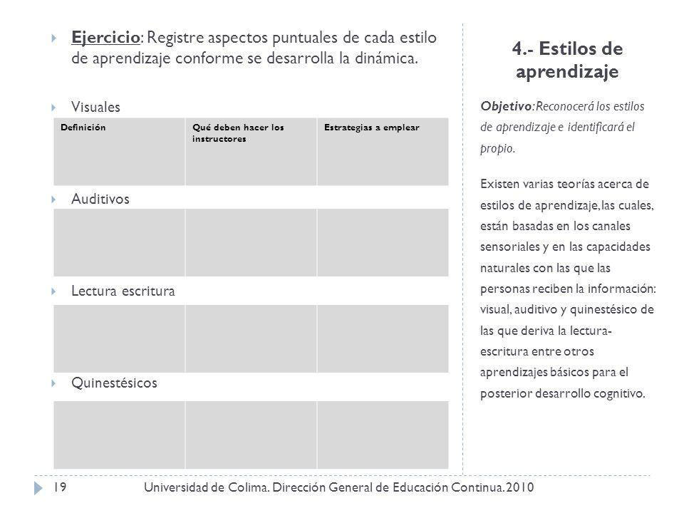 4.- Estilos de aprendizaje