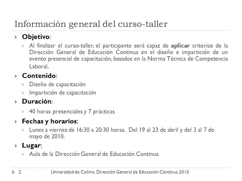 Información general del curso-taller