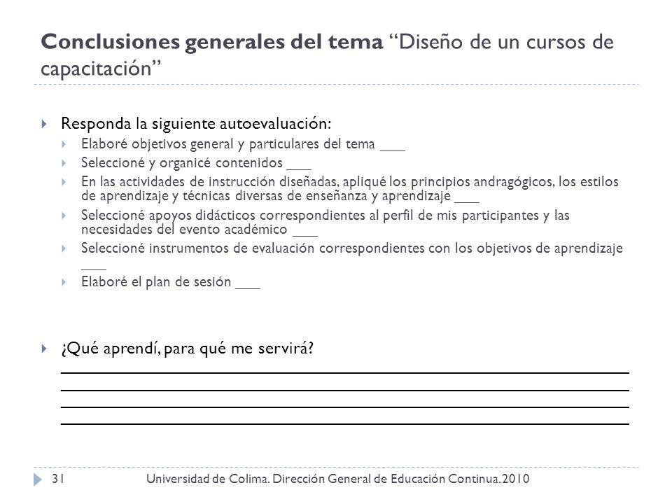 Conclusiones generales del tema Diseño de un cursos de capacitación