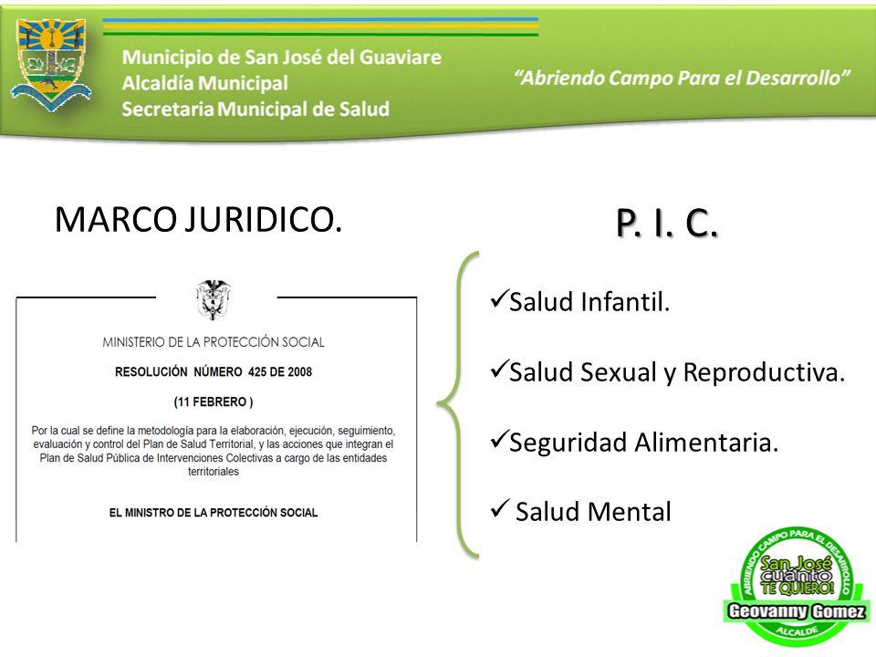 P. I. C. MARCO JURIDICO. Salud Infantil. Salud Sexual y Reproductiva.