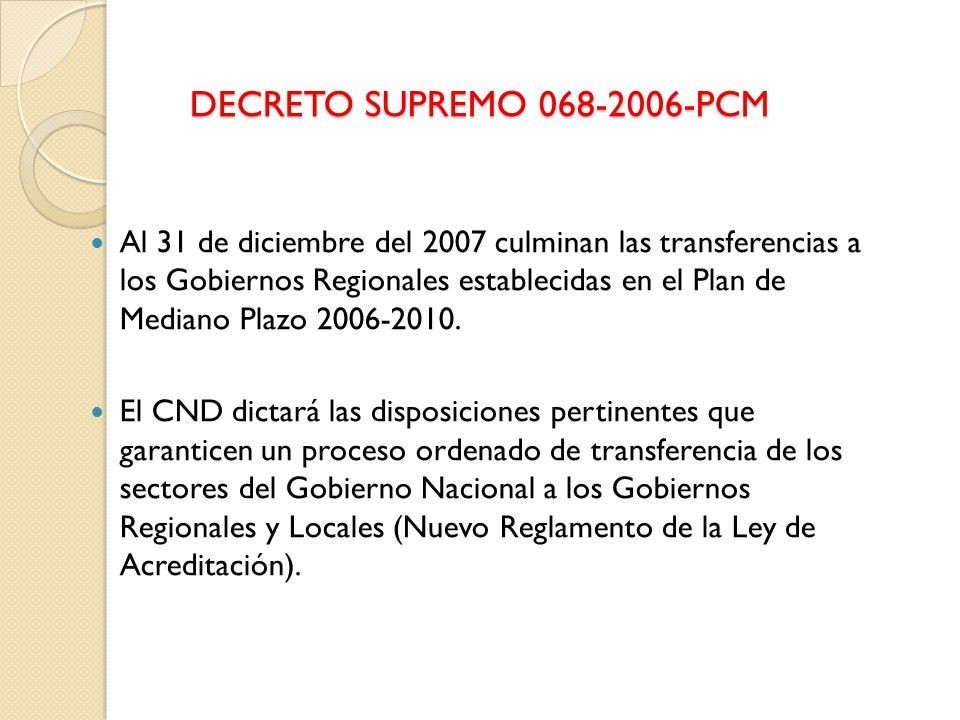 DECRETO SUPREMO 068-2006-PCM
