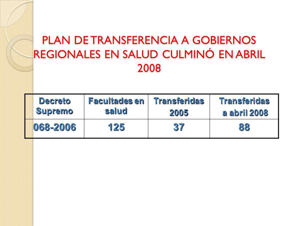 PLAN DE TRANSFERENCIA A GOBIERNOS REGIONALES EN SALUD CULMINÓ EN ABRIL 2008