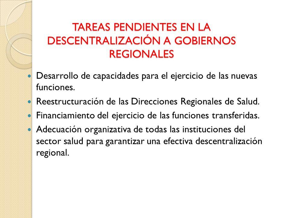 TAREAS PENDIENTES EN LA DESCENTRALIZACIÓN A GOBIERNOS REGIONALES
