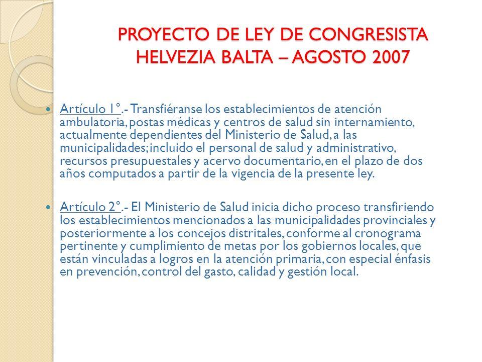 PROYECTO DE LEY DE CONGRESISTA HELVEZIA BALTA – AGOSTO 2007