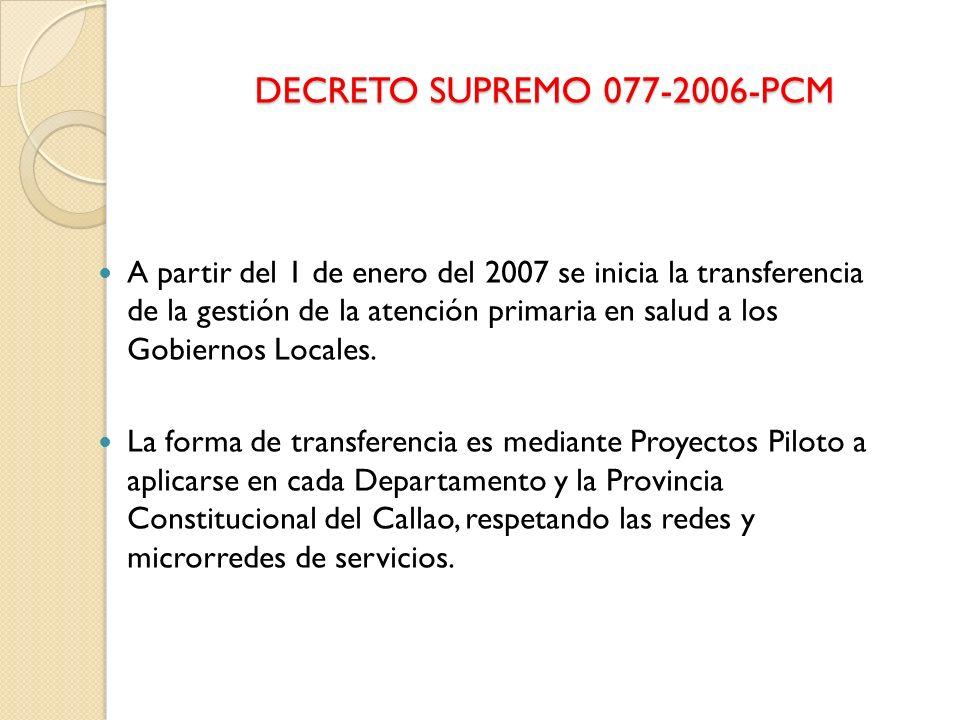 DECRETO SUPREMO 077-2006-PCM