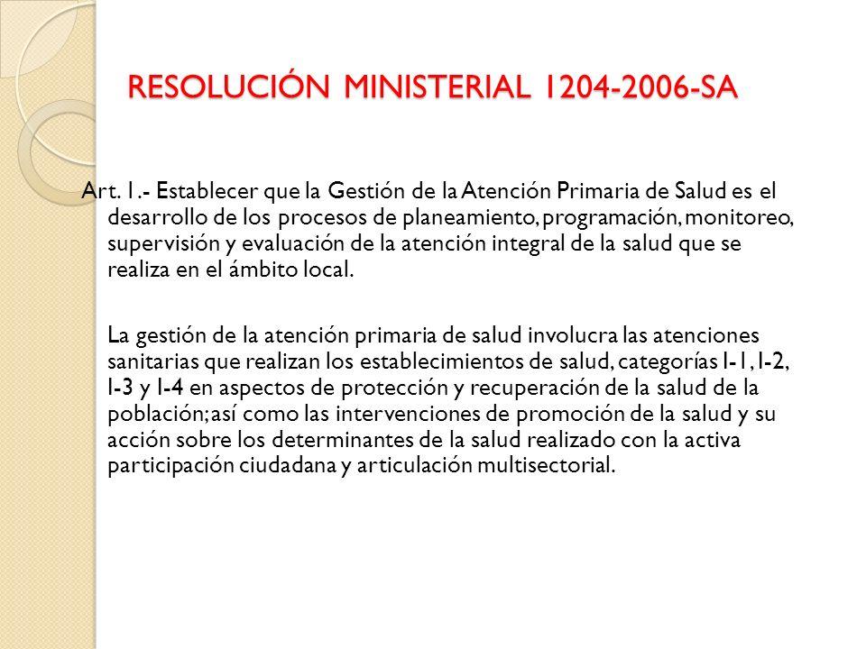 RESOLUCIÓN MINISTERIAL 1204-2006-SA