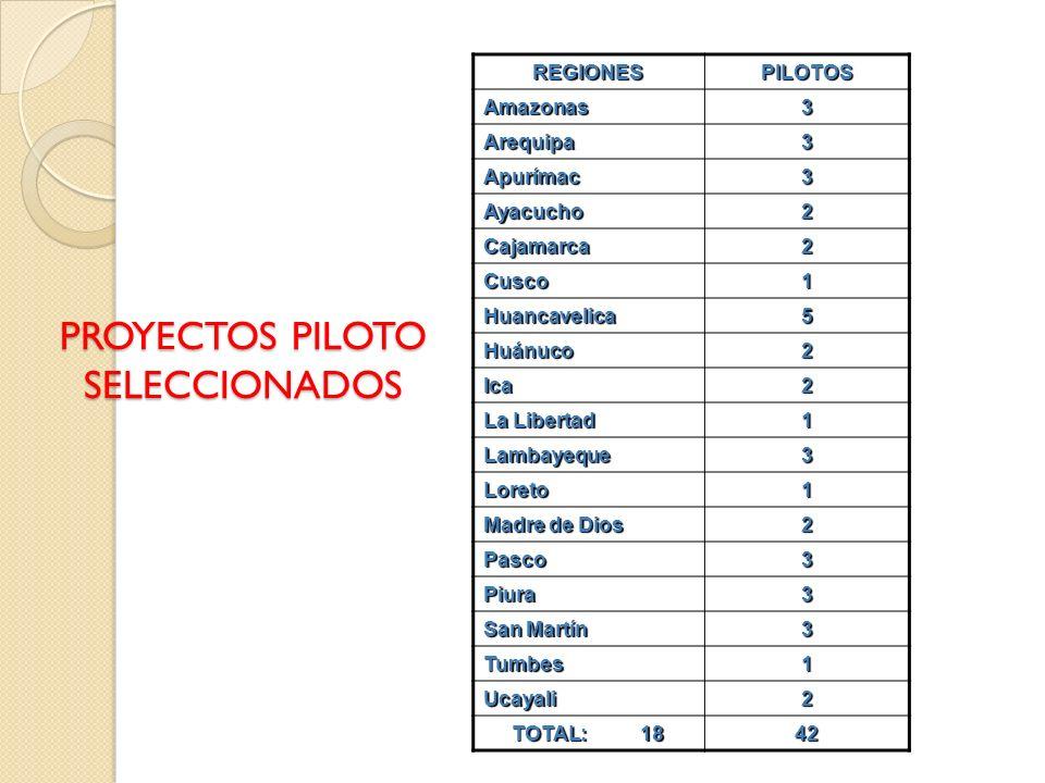 PROYECTOS PILOTO SELECCIONADOS