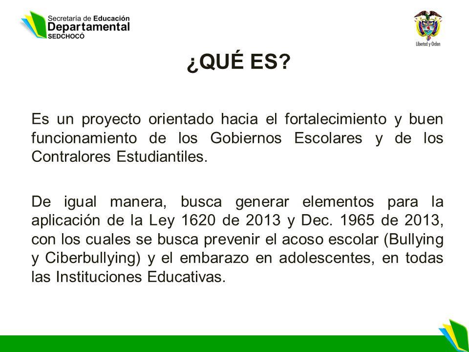 ¿QUÉ ES Es un proyecto orientado hacia el fortalecimiento y buen funcionamiento de los Gobiernos Escolares y de los Contralores Estudiantiles.