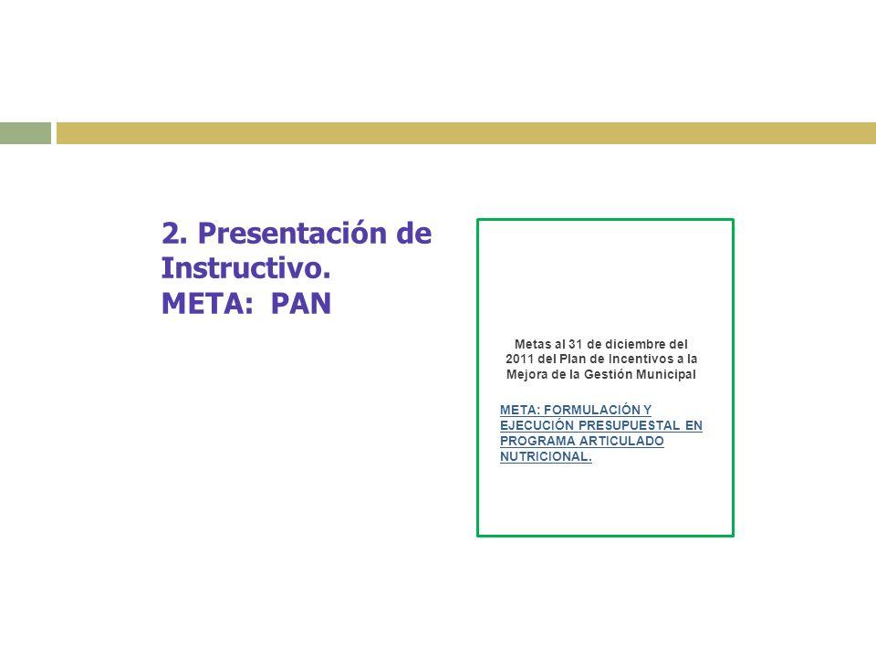 2. Presentación de Instructivo. META: PAN