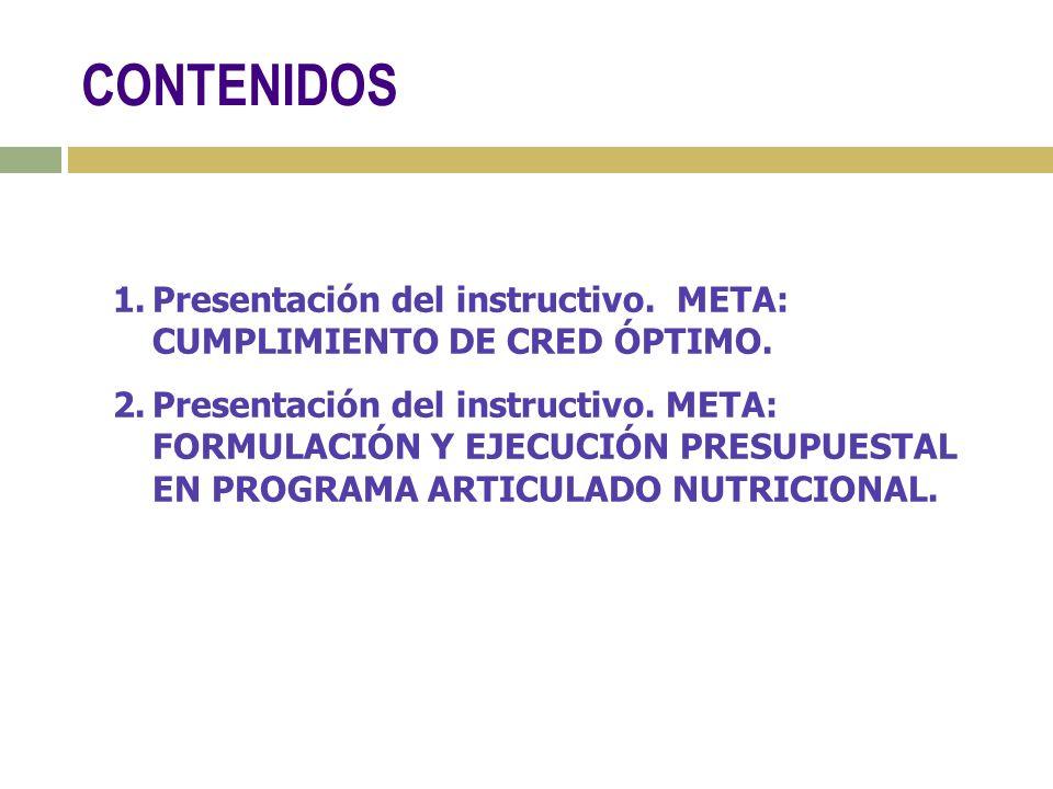 CONTENIDOS Presentación del instructivo. META: CUMPLIMIENTO DE CRED ÓPTIMO.