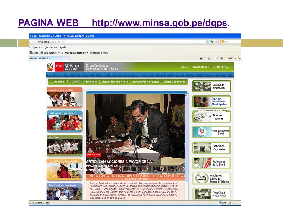 PAGINA WEB http://www.minsa.gob.pe/dgps.