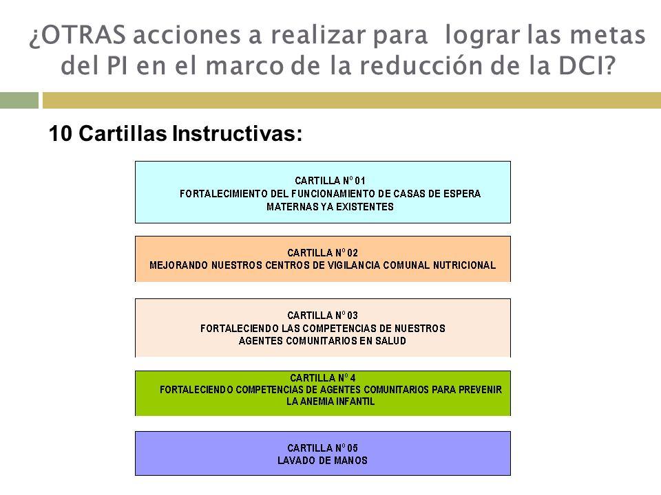 ¿OTRAS acciones a realizar para lograr las metas del PI en el marco de la reducción de la DCI
