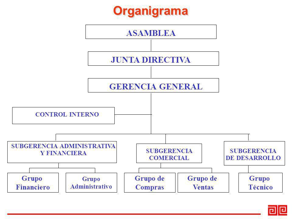 Organigrama ASAMBLEA JUNTA DIRECTIVA GERENCIA GENERAL Grupo Financiero