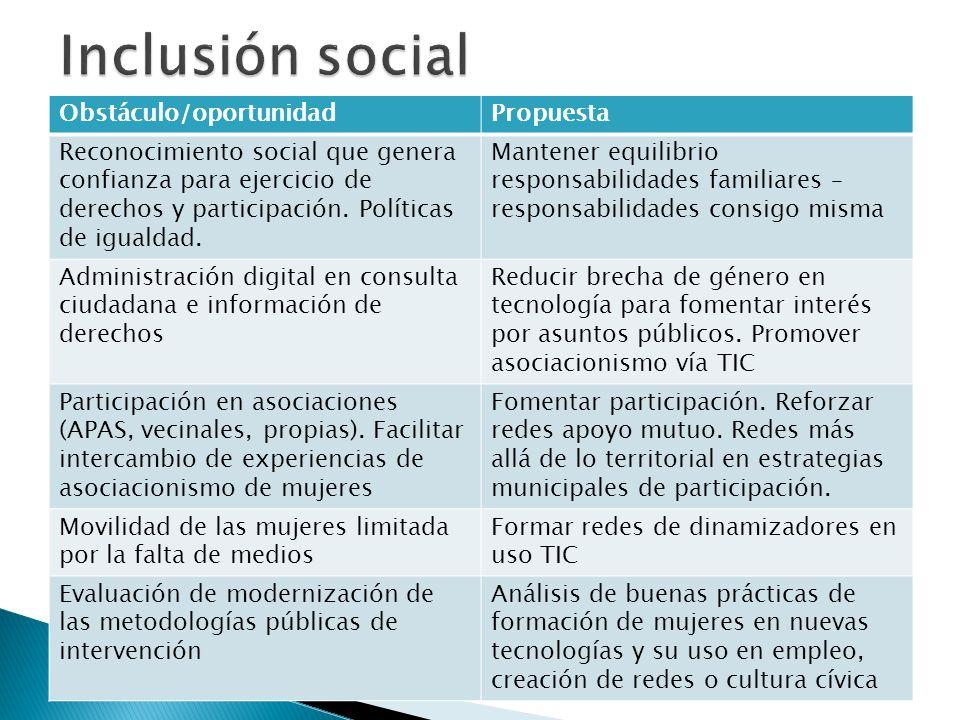 Inclusión social Obstáculo/oportunidad Propuesta