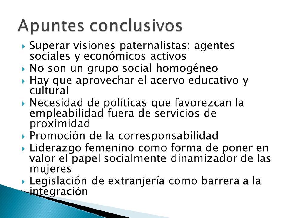 Apuntes conclusivos Superar visiones paternalistas: agentes sociales y económicos activos. No son un grupo social homogéneo.