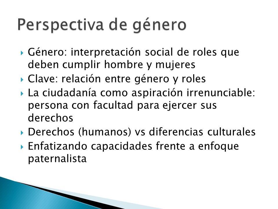 Perspectiva de género Género: interpretación social de roles que deben cumplir hombre y mujeres. Clave: relación entre género y roles.
