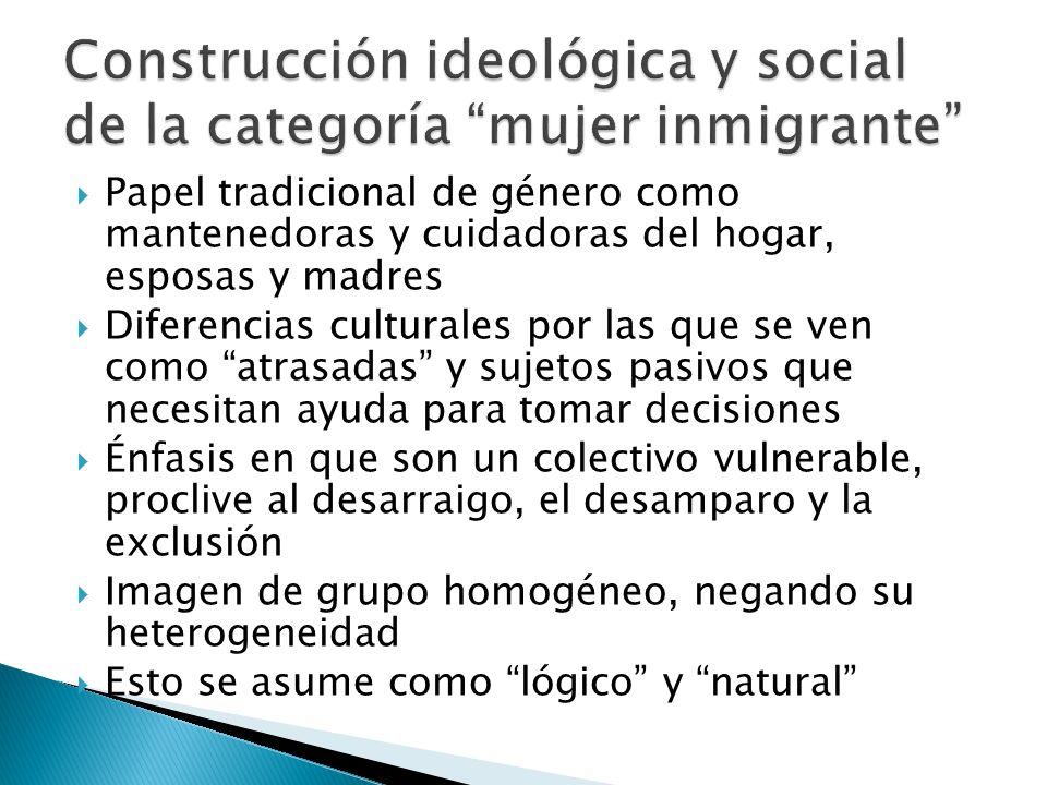 Construcción ideológica y social de la categoría mujer inmigrante