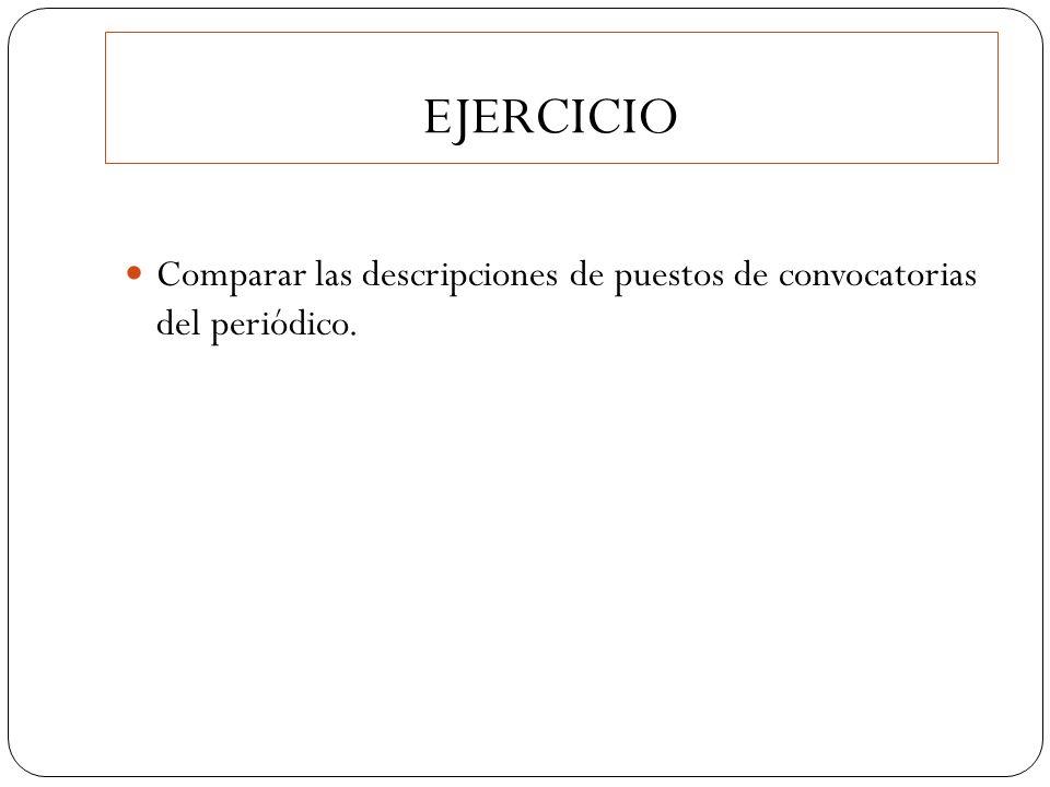 EJERCICIO Comparar las descripciones de puestos de convocatorias del periódico.
