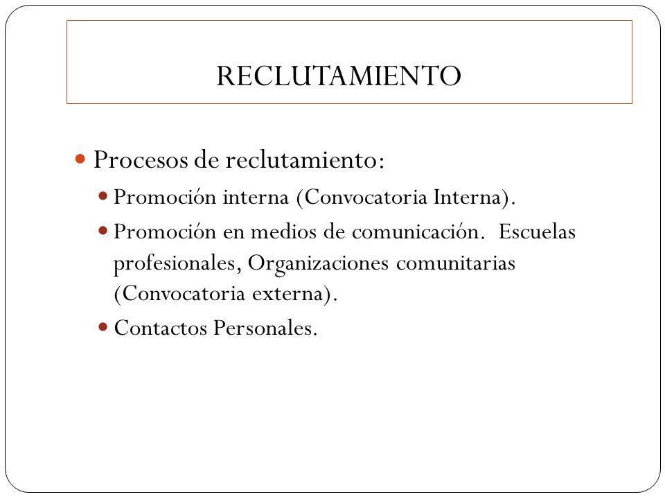 RECLUTAMIENTO Procesos de reclutamiento: