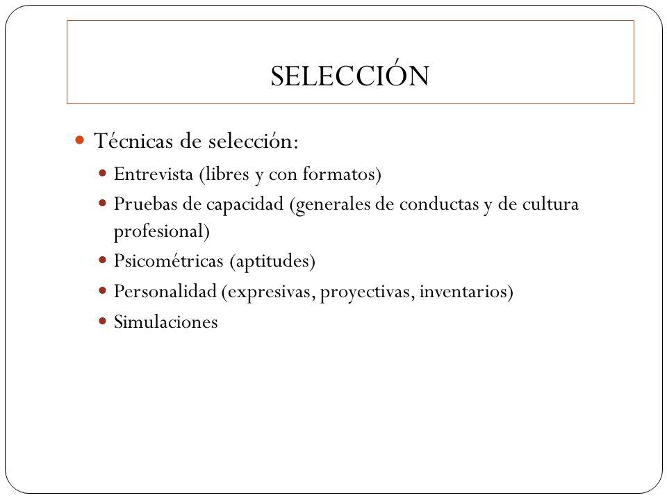 SELECCIÓN Técnicas de selección: Entrevista (libres y con formatos)