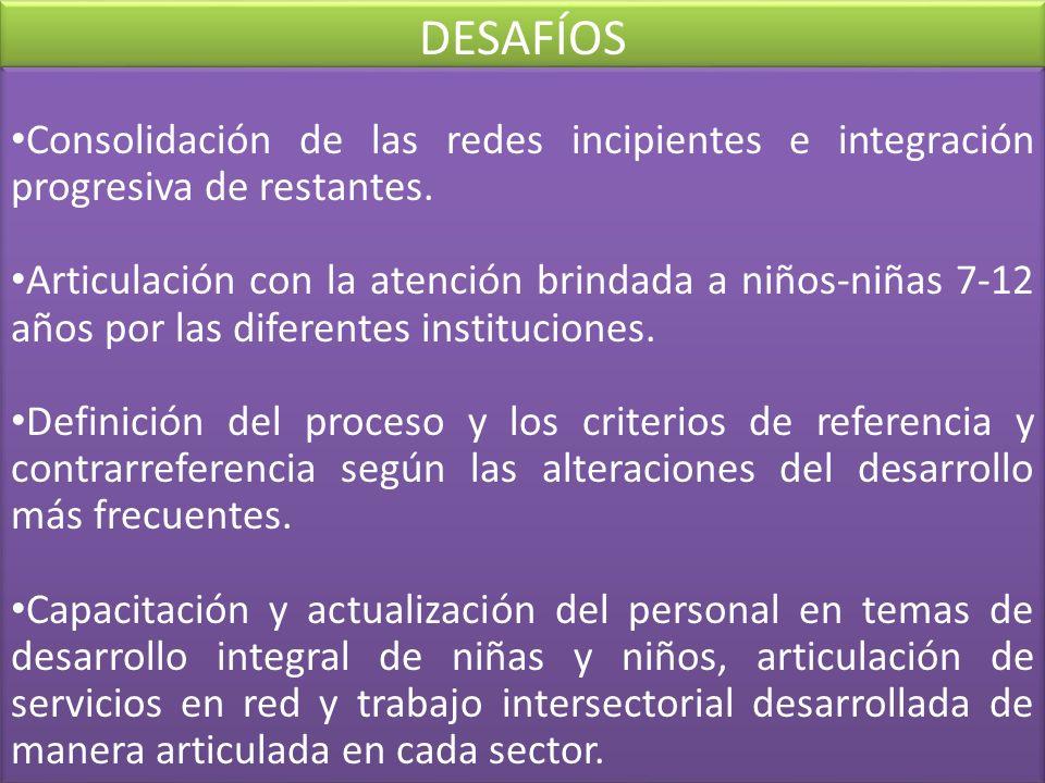 DESAFÍOS Consolidación de las redes incipientes e integración progresiva de restantes.