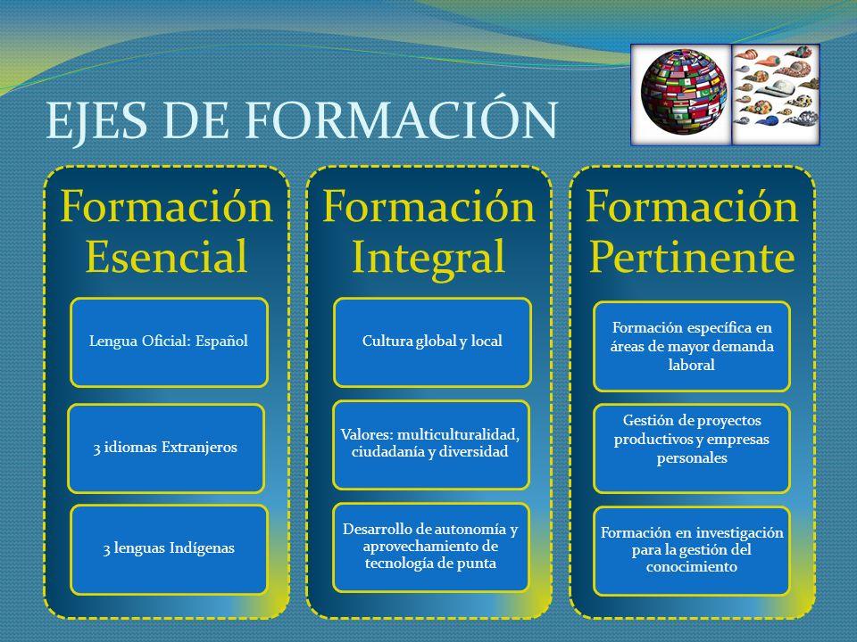 EJES DE FORMACIÓN Formación Esencial Formación Integral
