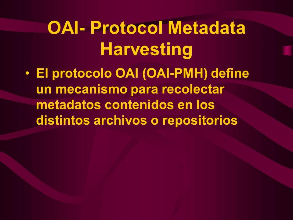 OAI- Protocol Metadata Harvesting