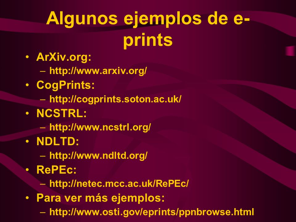 Algunos ejemplos de e-prints