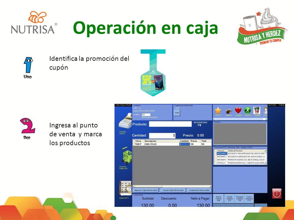 Operación en caja Identifica la promoción del cupón