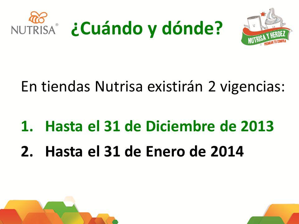 ¿Cuándo y dónde En tiendas Nutrisa existirán 2 vigencias: