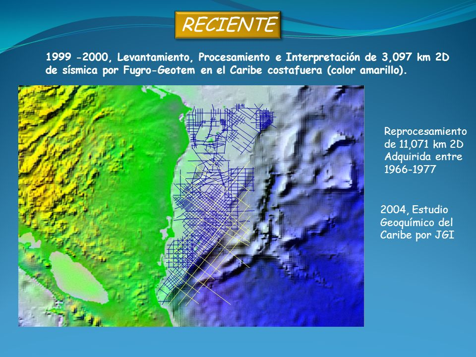 RECIENTE 1999 -2000, Levantamiento, Procesamiento e Interpretación de 3,097 km 2D.