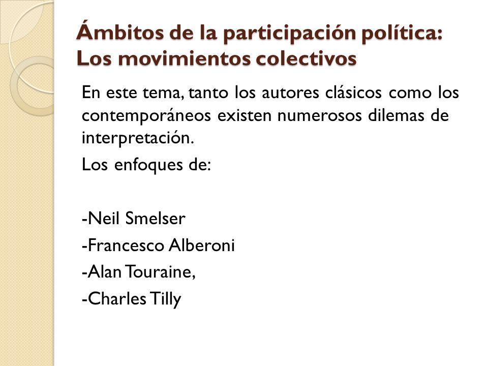 Ámbitos de la participación política: Los movimientos colectivos