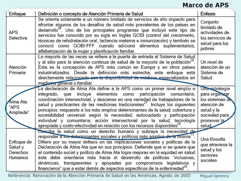 Marco de APS Referencia: Renovación de la Atención Primaria de Salud en las Américas.