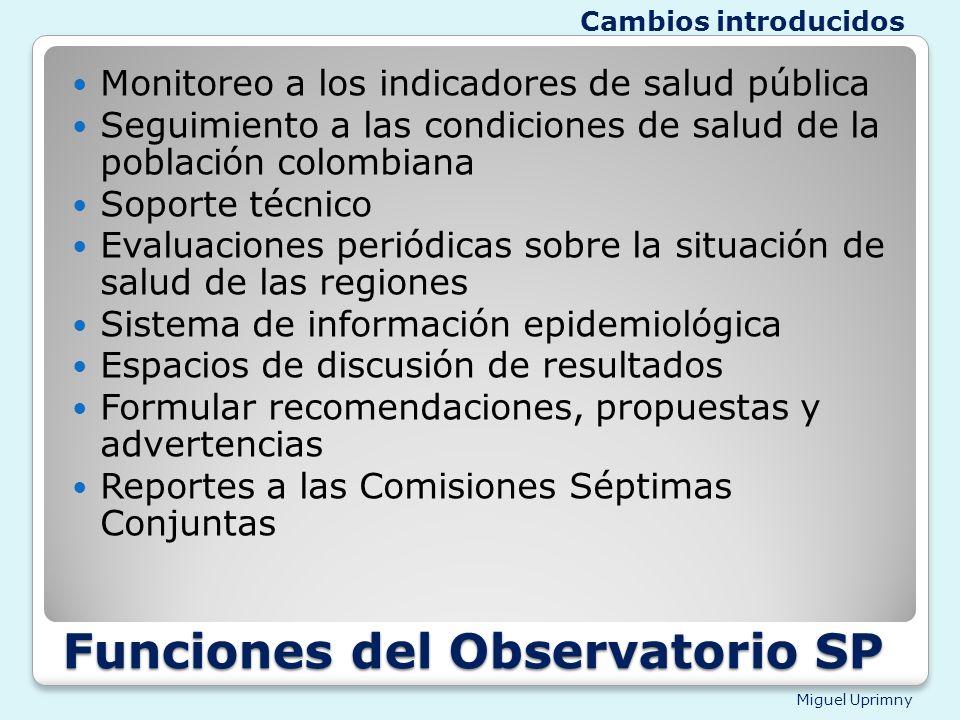 Funciones del Observatorio SP