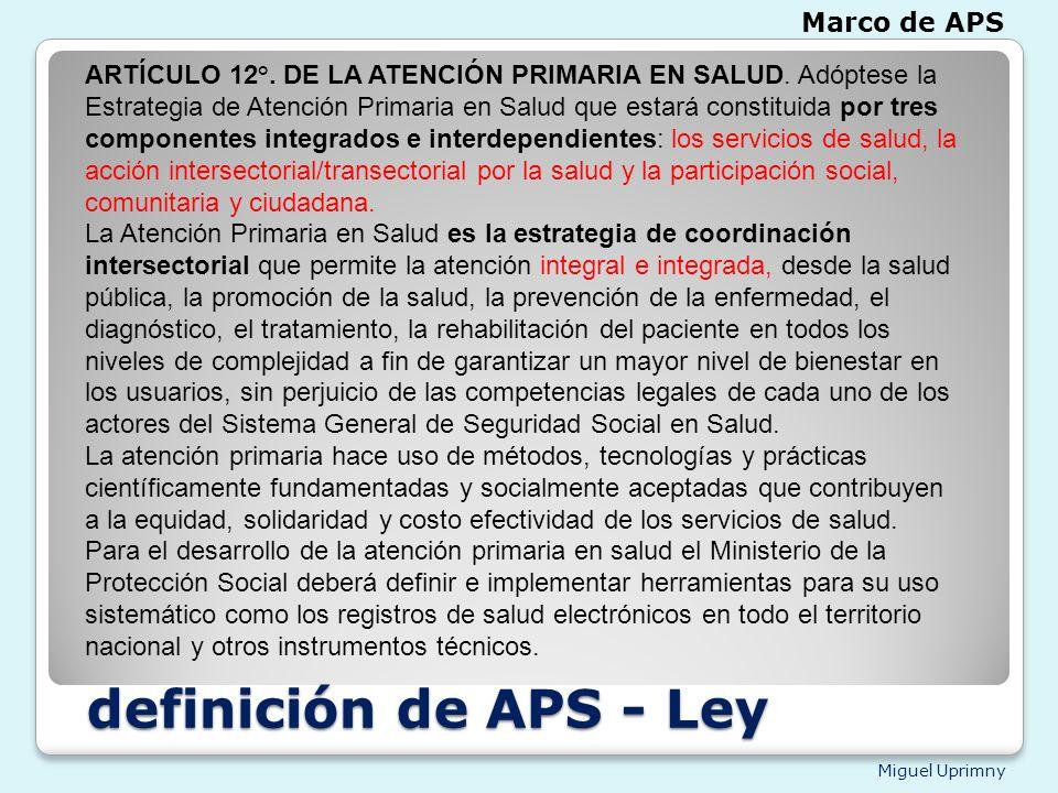 definición de APS - Ley Marco de APS