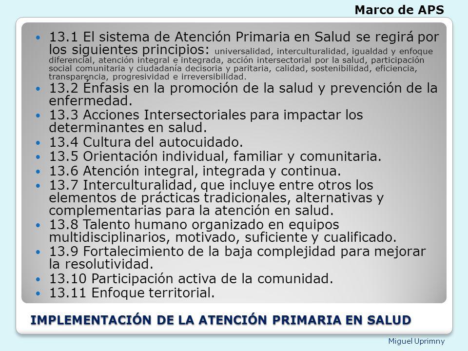 IMPLEMENTACIÓN DE LA ATENCIÓN PRIMARIA EN SALUD