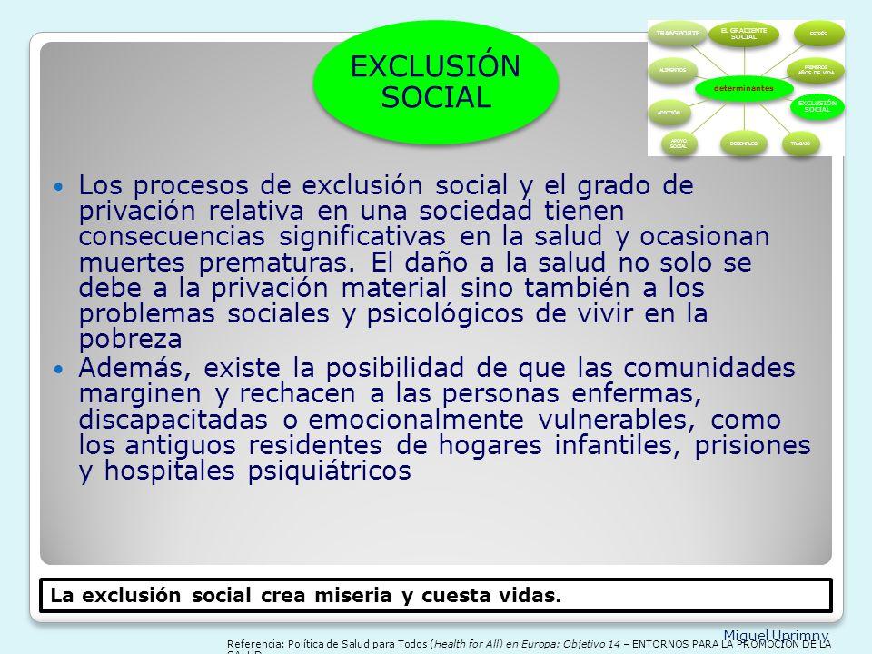 EXCLUSIÓN SOCIAL determinantes. EL GRADIENTE SOCIAL. ESTRÉS. PRIMEROS AÑOS DE VIDA. EXCLUSIÓN SOCIAL.
