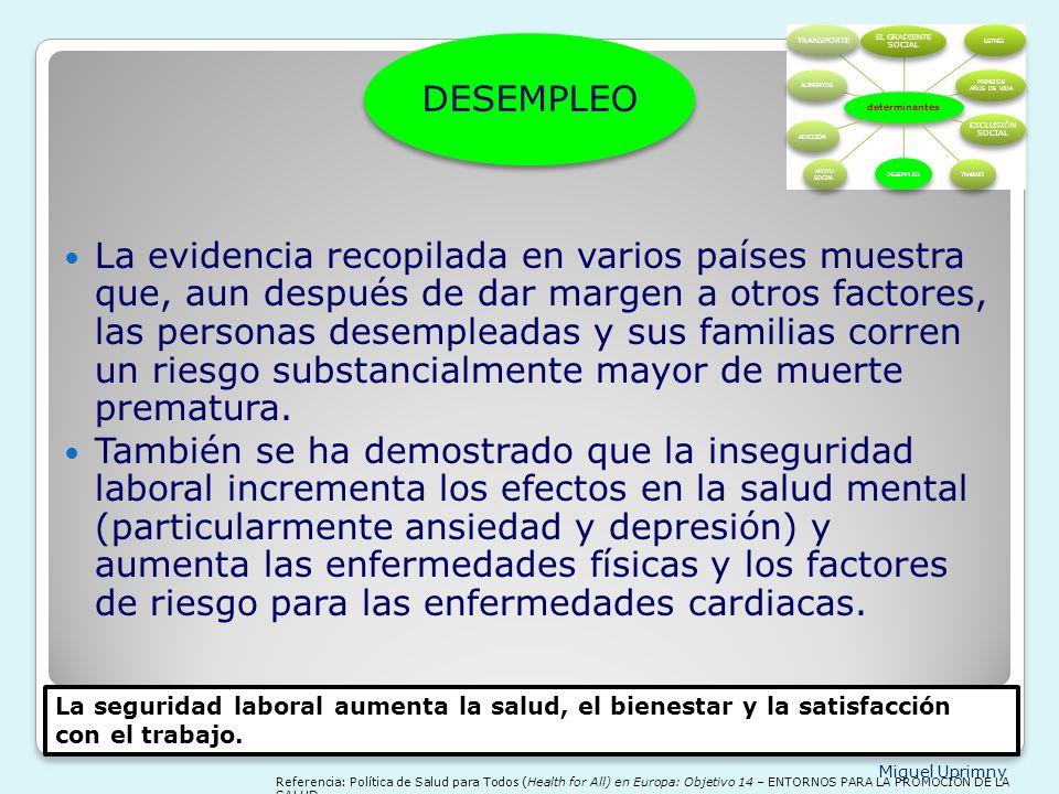 determinantes EL GRADIENTE SOCIAL. ESTRÉS. PRIMEROS AÑOS DE VIDA. EXCLUSIÓN SOCIAL. TRABAJO. DESEMPLEO.